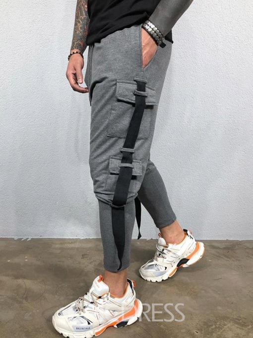 Ericdress Lace-Up Mid Waist Men's Casual Pants