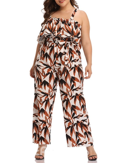 Ericdress Plus Size Full Length Casual Plant Loose High Waist Jumpsuit