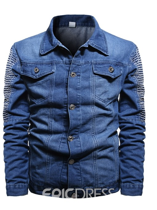 Ericdress Color Block Lapel Patchwork Men's Slim Jacket