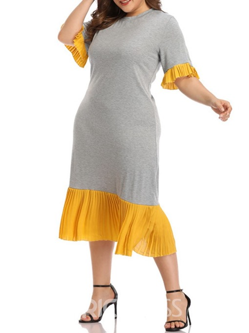 Ericdress Plus Size Flare Sleeve Patchwork Casual Short Sleeve Dress