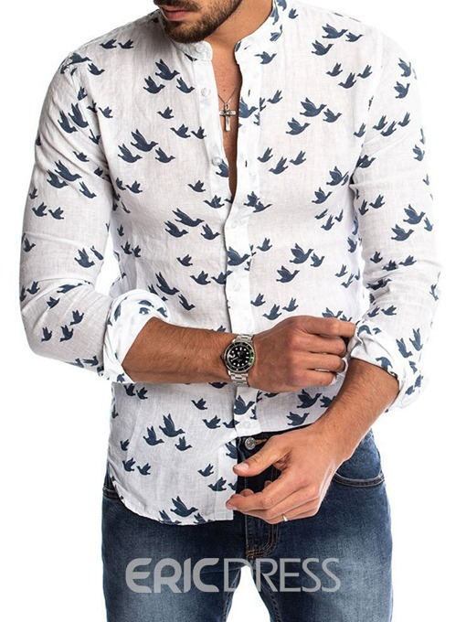 Ericdress Color Block Casual Stand Collar Single-Breasted Men's Slim Shirt