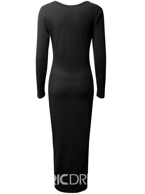 Ericdress Button V-Neck Split Mid-Calf Mid Waist Regular Pencil Dress