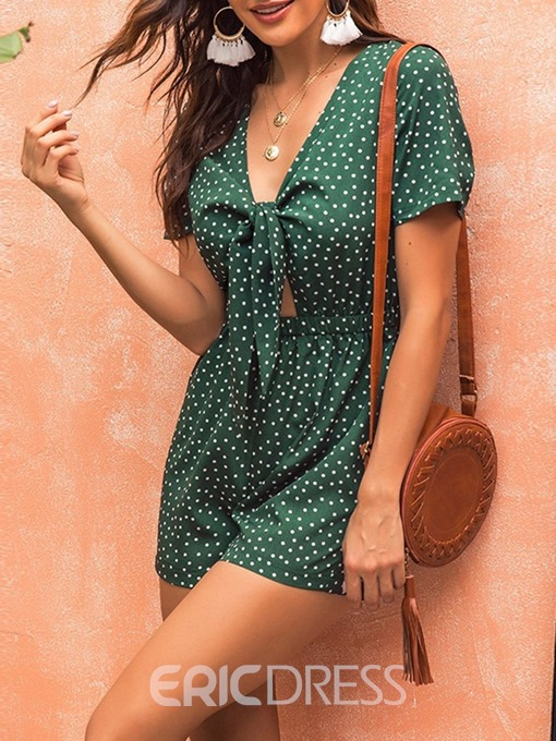 Ericdress Lace-Up Shorts Travel Look High Waist Loose Romper