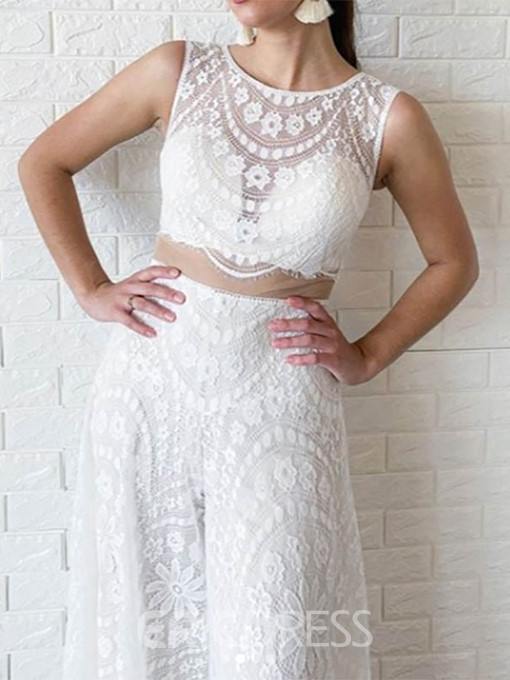 Ericdress Column Scoop Neck Lace Wedding Jumpsuits