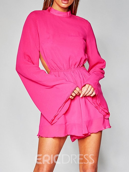 Ericdress Above Knee Backless Flare Sleeve A-Line Casual Dress