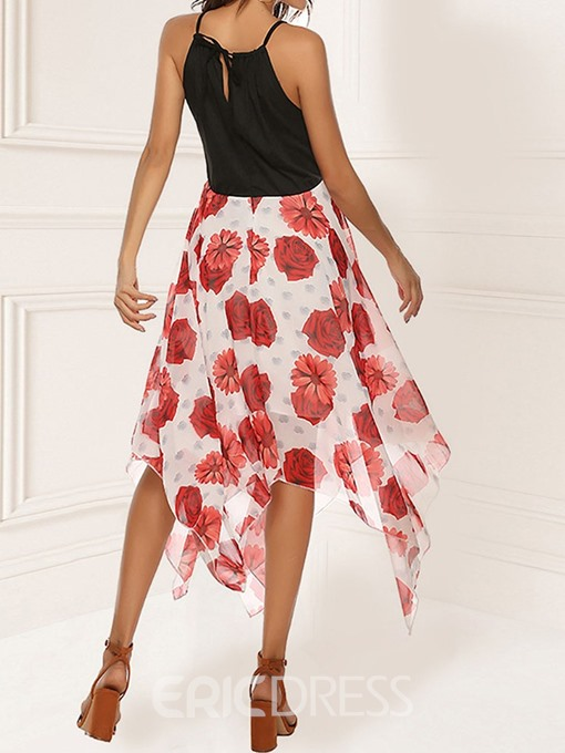 Ericdress Patchwork Print Spaghetti Strap Sleeveless Floral Asymmetrical Dress