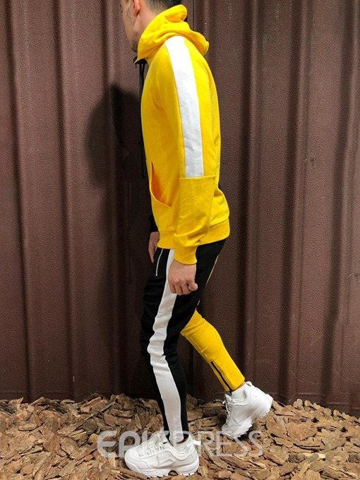 Ericdress Color Block Zipper Men's Sports Outfit