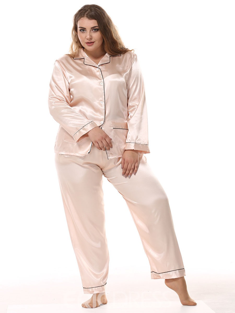 Ericdress Plus Size Pocket Simple Long Sleeve Women's Pajama Set
