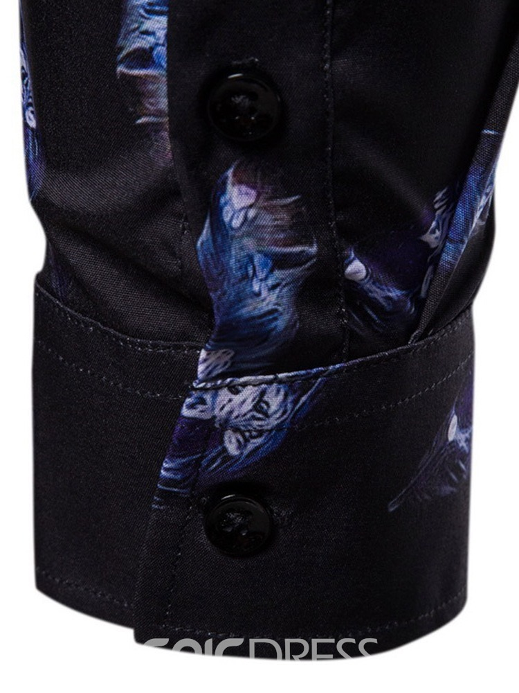 Ericdress Lapel Print Color Block Single-Breasted Men's Slim Shirt