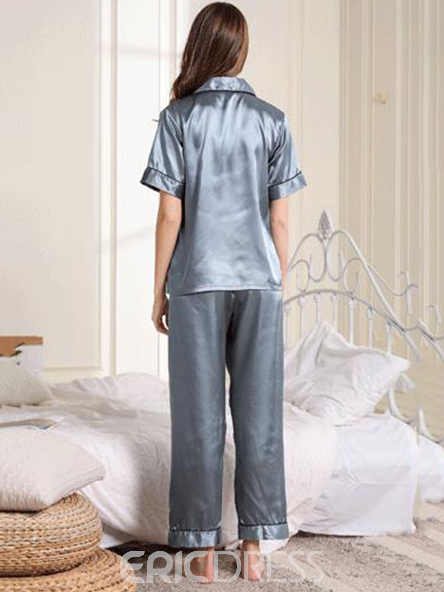 Ericdress Pocket Sleeve Top Long Pants Regular Pajama Suit