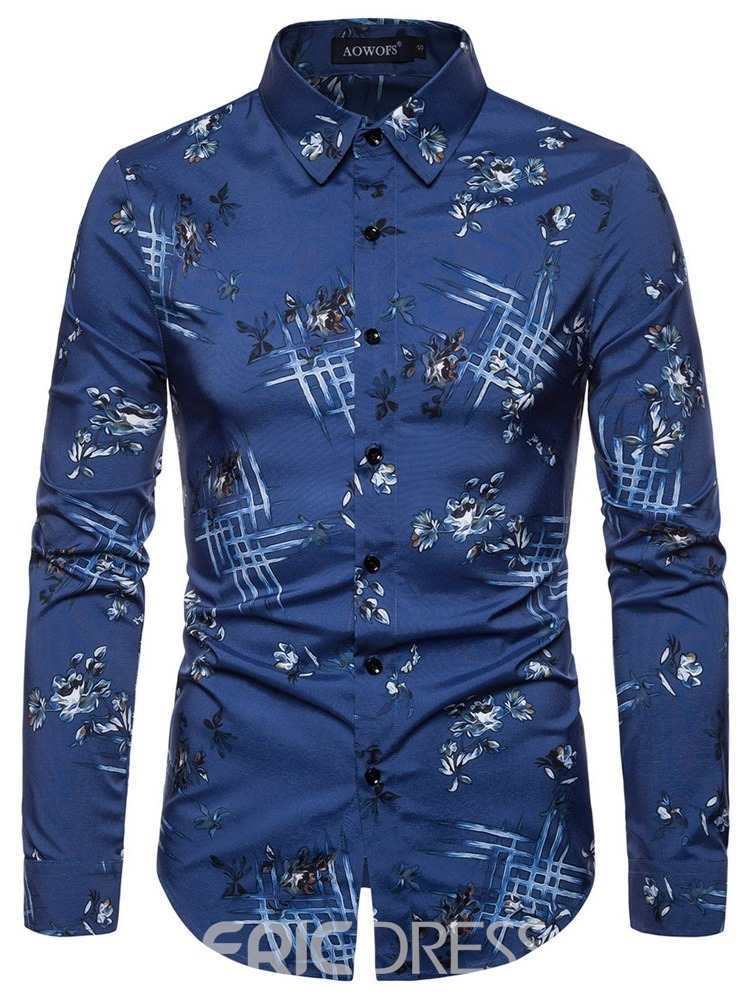 Ericdress Button Color Block Fashion Slim Men's Single-Breasted Shirt