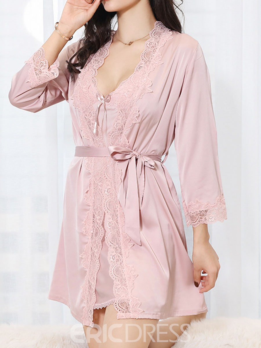 Ericdress Plain Patchwork V-Neck Nightgown