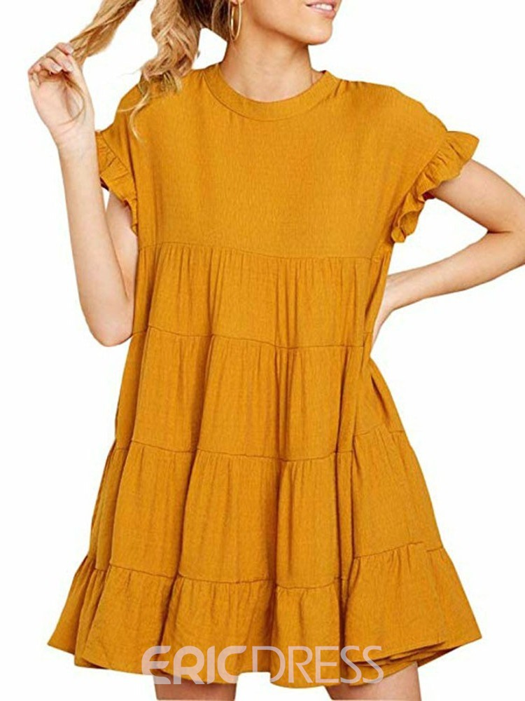 Ericdress Falbala Short Sleeve Round Neck Sweet Plain Casual Dress