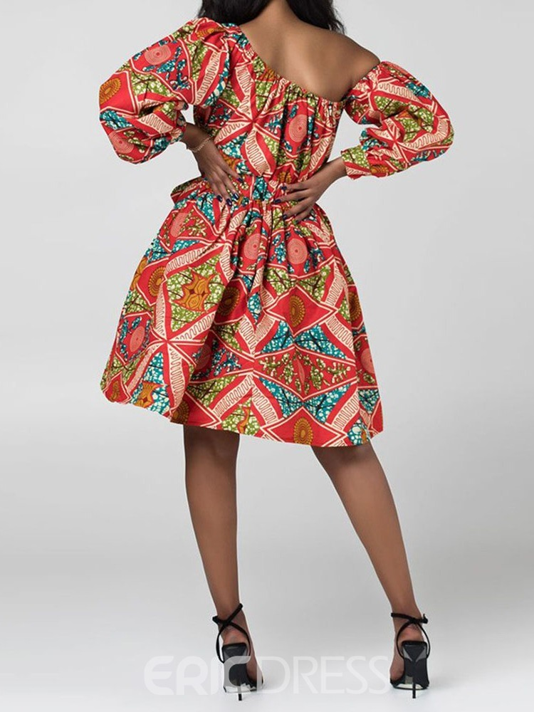 Ericdress African Fashion Oblique Collar Lantern Sleeve Above Knee Floral Dress