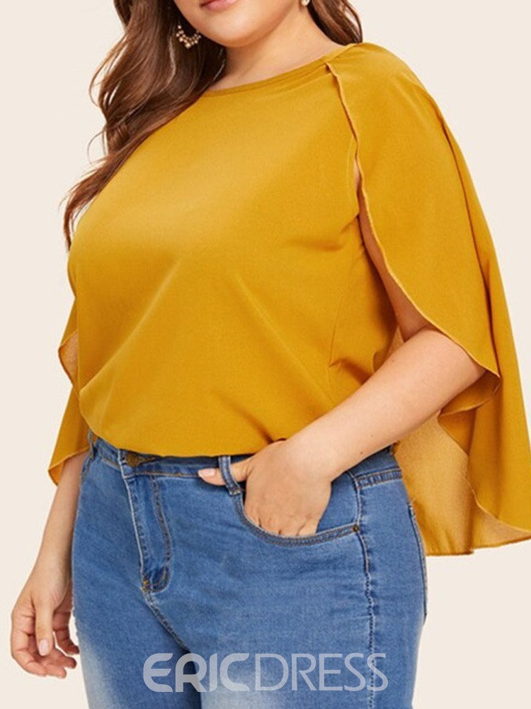 Ericdress Plus Size Round Neck Plain Standard Three-Quarter Sleeve Blouse