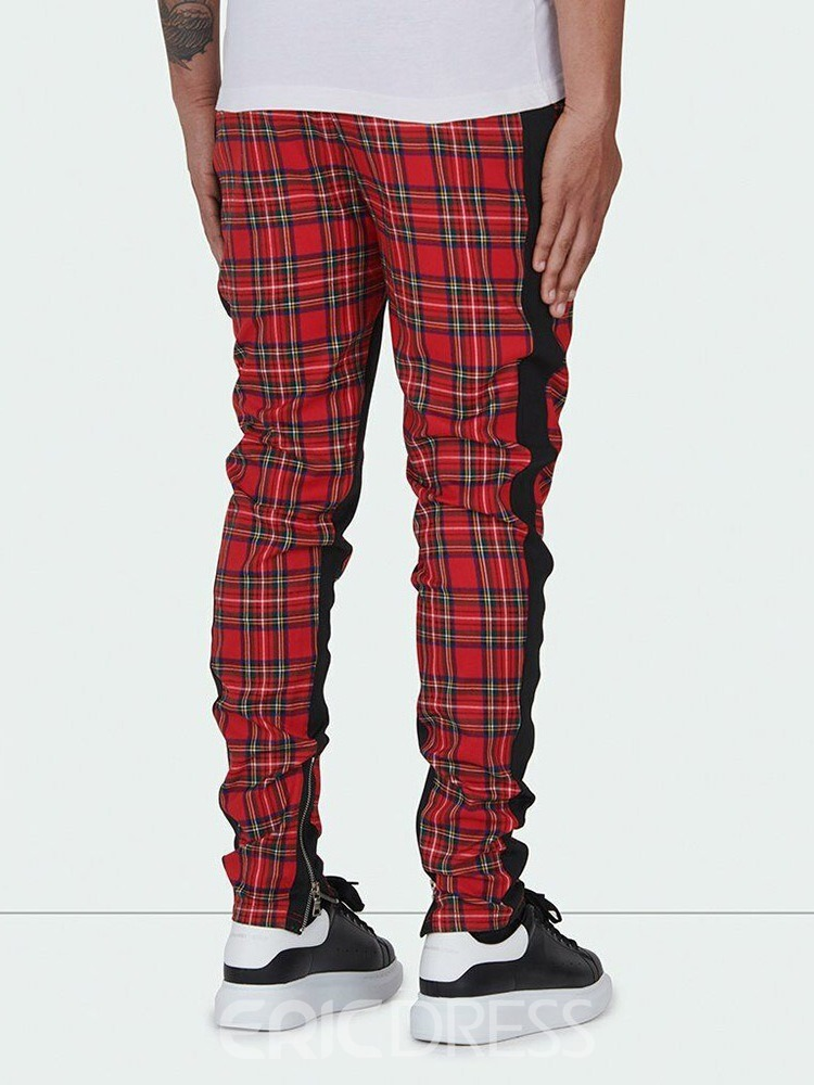Ericdress Plaid Zipper Hip Hop Lace-Up Men's Casual Pants