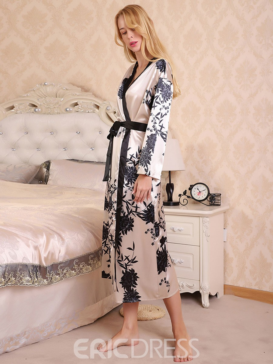 Ericdress Color Block Print Single Long Sleeve Sexy Night-Robes