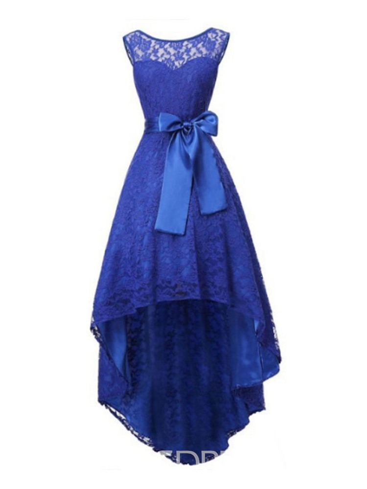 Ericdress Swallowtail Lace Round Neck Lace Mid-Calf Party Mid Waist Dress