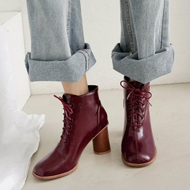 Ericdress Plain Round Toe Lace-Up Front Chunky Heel Women's Ankle Boots