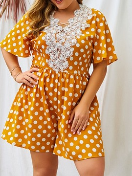 Ericdress Plus Size Print Polka Dots Sweet Loose High Waist Jumpsuit