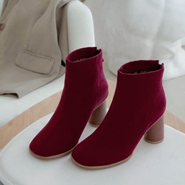 Ericdress Plain Pointed Toe Back Zip Chunky Heel Women's Ankle Boots