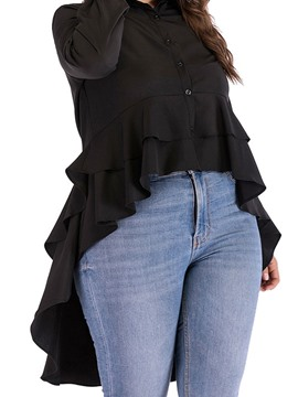 Ericdress Plus Size Lapel Swallowtail Regular Ruffles Long Sleeve Mid-Length Blouse