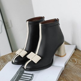 Ericdress Bow Patchwork Chunky Heel Back Zip Women's Ankle Boots