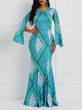 Ericdress African Fashion Mermaid Floor-Length Bodycon Geometric Maxi Dress