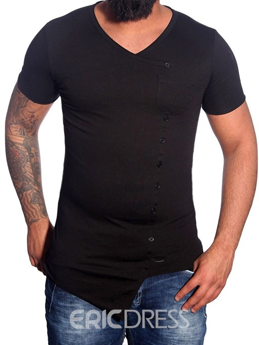 Ericdress V-Neck Casual Plain Loose Men's Single-Breasted T-shirt
