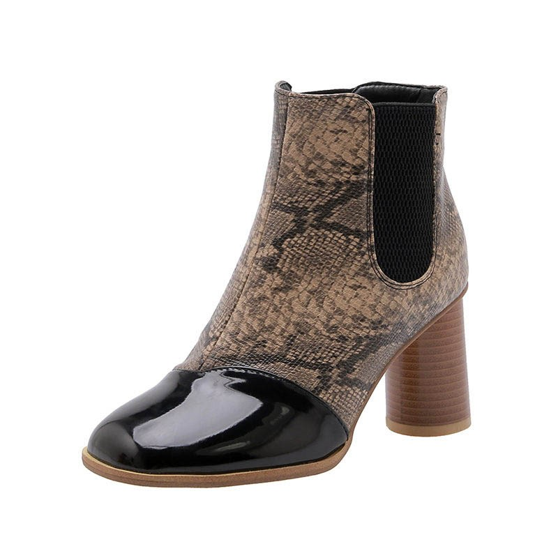 Ericdress Serpentine Patchwork Slip-On Round Toe Women's Ankle Boots