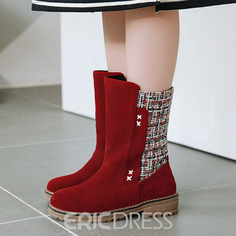 Ericdress Patchwork Round Toe Slip-On Color Block Women's Flat Boots