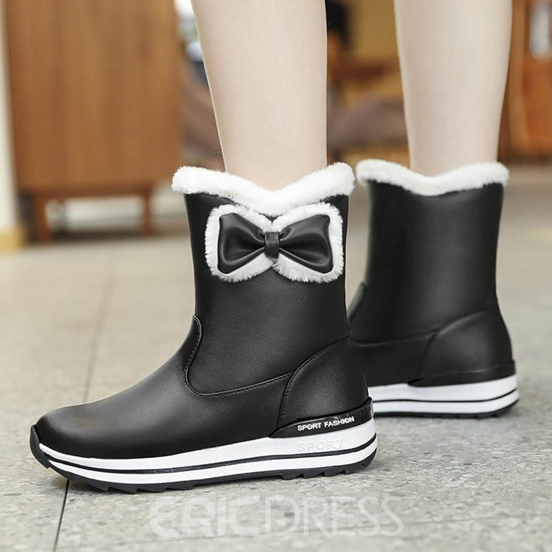 Ericdress Sweet Color Block Round Toe Slip-On Women's Snow Boots