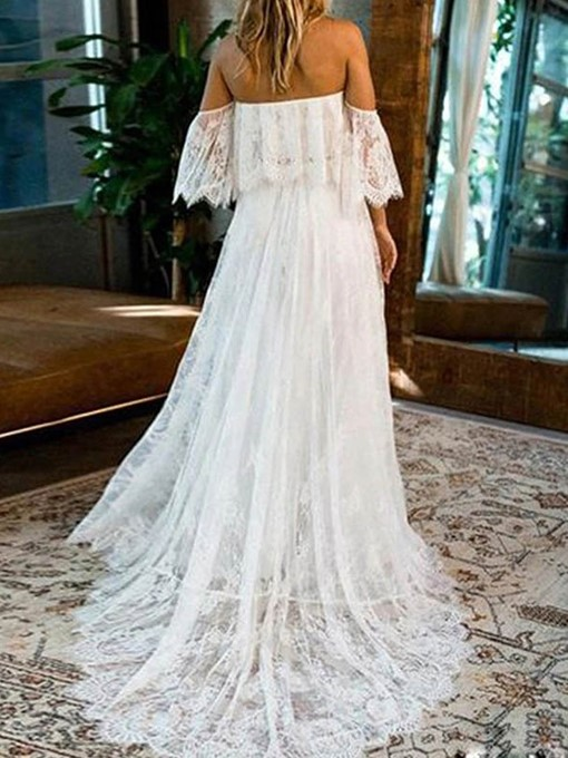 Ericdress Lace 3/4 Length Sleeves Off-The-Shoulder Church Wedding Dress 2020