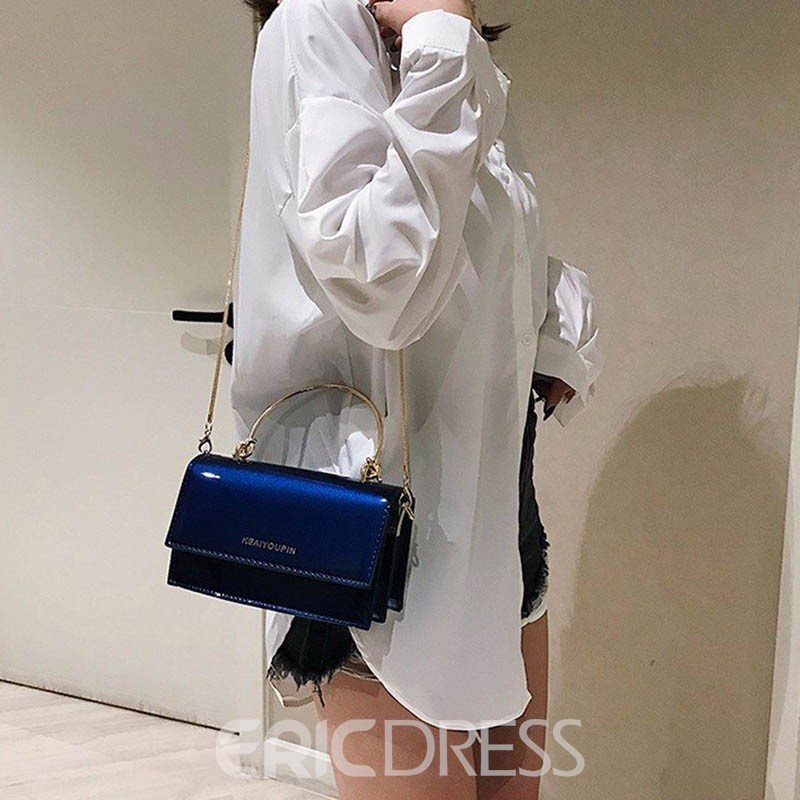 Ericdress PU Letter Chain Patent Leather Bag