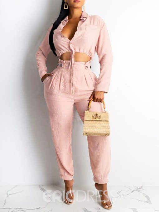 Ericdress Plain Lace-Up Single-Breasted Two Piece Sets