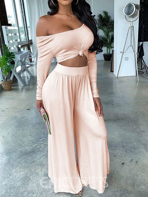 Ericdress Backless Plain Pullover Wide Legs Two Piece Sets