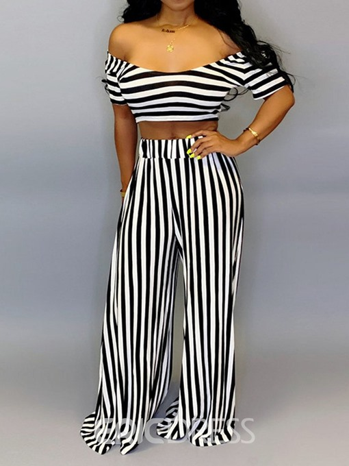 Ericdress Fashion Stripe Wide Legs Pullover Two Piece Sets