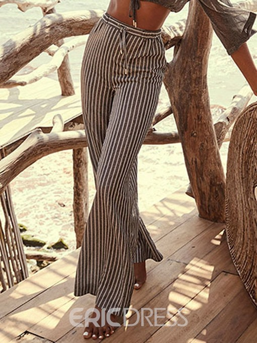 Ericdress Loose Stripe Full Length High Waist Casual Pants