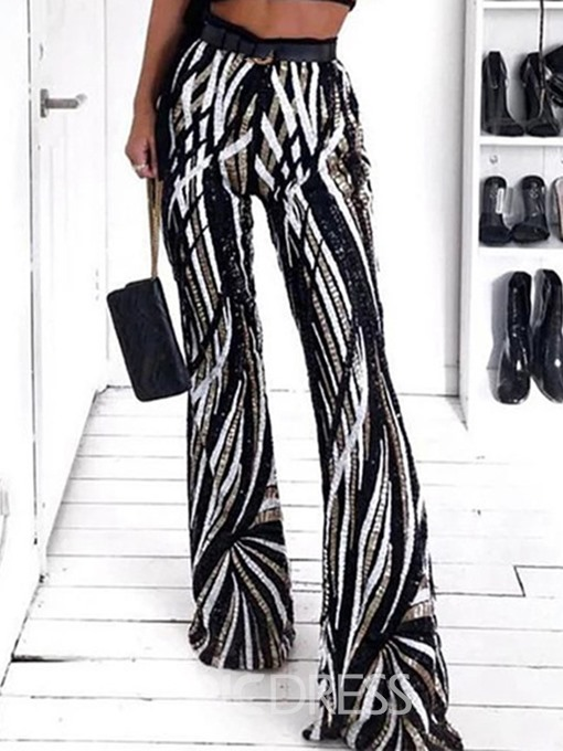 Ericdress Print Stripe Loose Full Length Low Waist Casual Pants