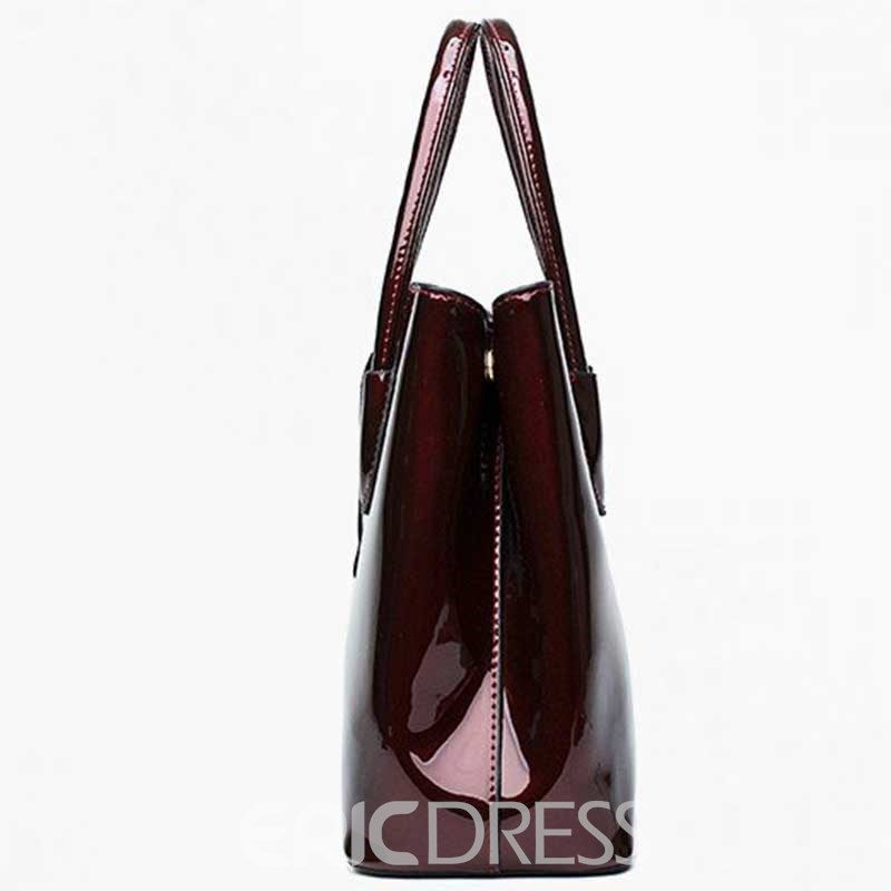 Ericdress PU Thread Plain Patent Leather Bag