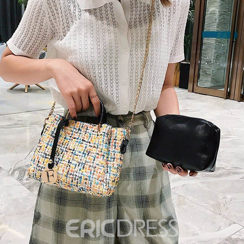 Ericdress Knitted Rectangle Tote Bag