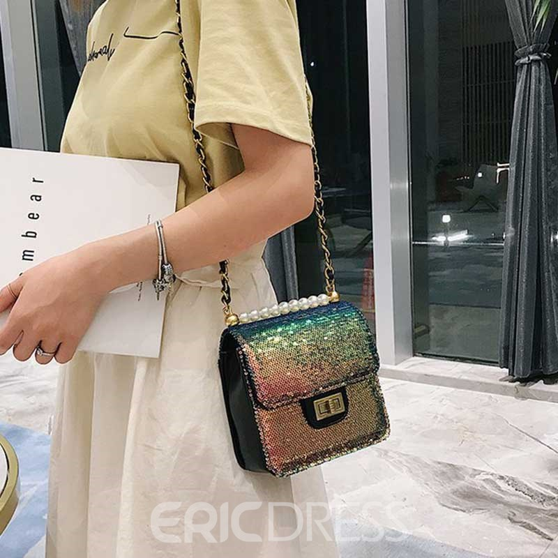 Ericdress Beads Plain PU Glisten Crossbody Bag