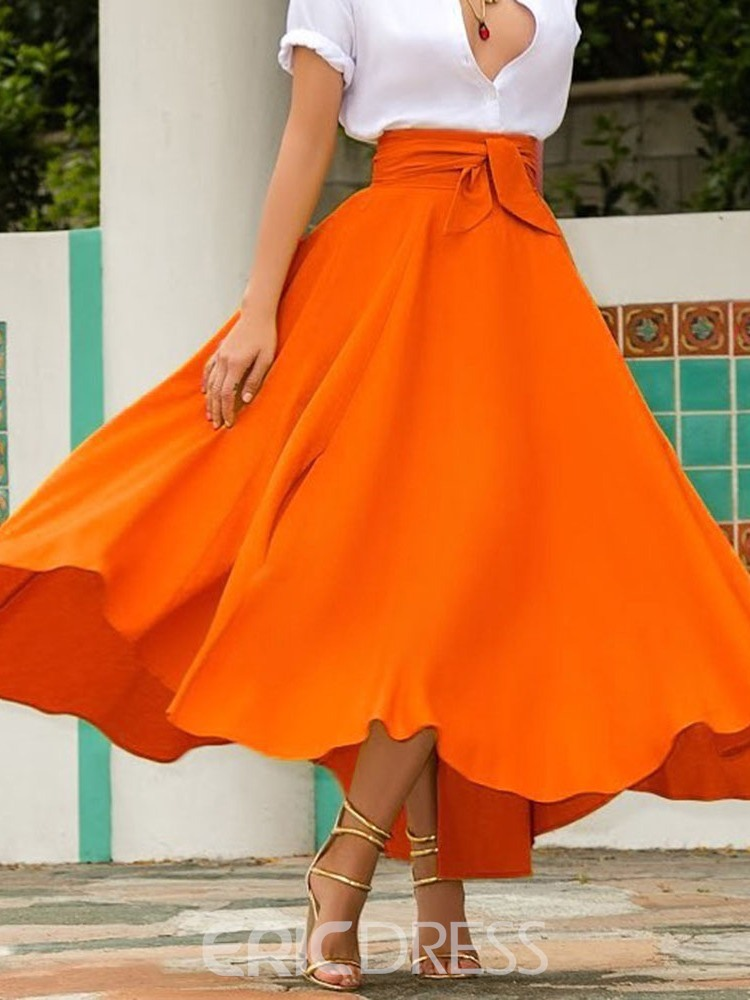 Ericdress Expansion Lace-Up Ankle-Length Casual High Waist Skirt