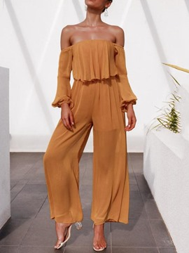 Ericdress Full Length See-Through Plain High Waist Wide Legs Jumpsuit