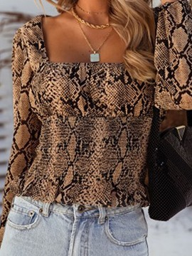 Ericdress Serpentine Square Neck Lantern Sleeve Short Fashion Blouse