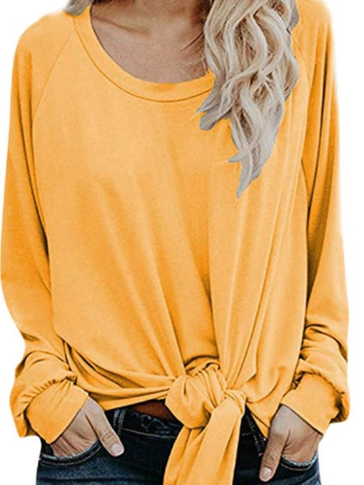 Ericdress Long Sleeve Plain Standard Casual Round Neck T-Shirt