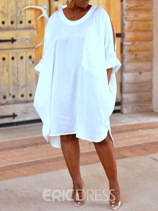 Ericdress Plus Size Casual Cold Shoulder Mid-Calf Round Neck White Dress