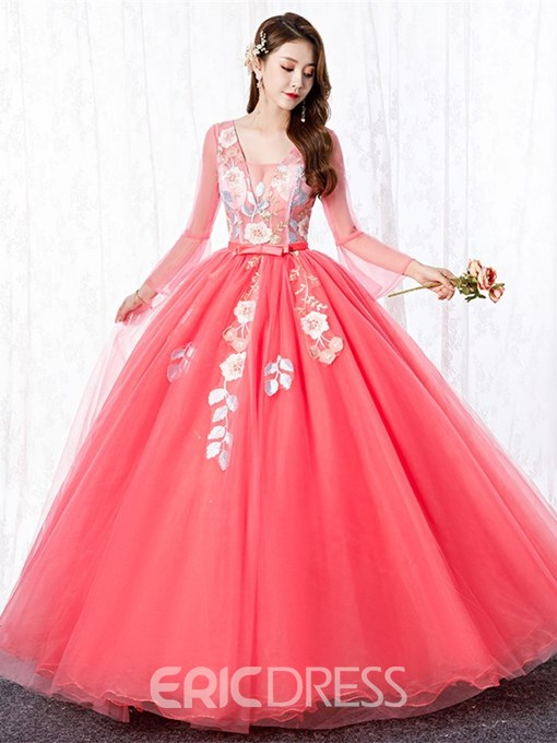 Ericdress Appliques Ball Gown Long Sleeves Floor-Length Quinceanera Dress