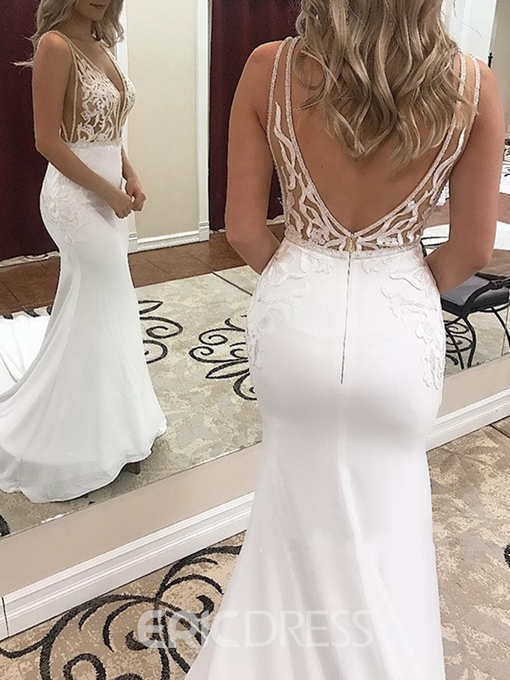 Ericdress Beading Deep V-Neck Appliques Wedding Dress