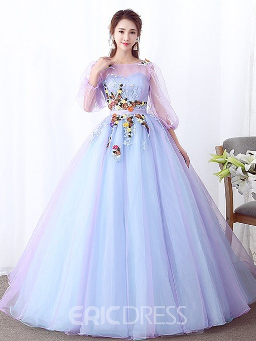 Ericdress Ball Gown 3/4 Length Sleeves Appliques Scoop Quinceanera Dress
